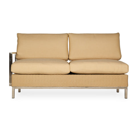 Lloyd Flanders Lloyd Flanders Elements Right Arm Settee With Stainless Steel Arms & Back Settee - Rattan Imports