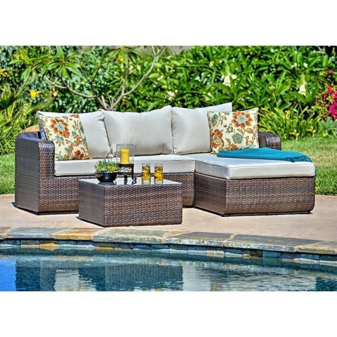 Thy-HOM - Luies 3-Piece All-Weather Wicker Patio Conversation Set -  - Conversation Set - 5
