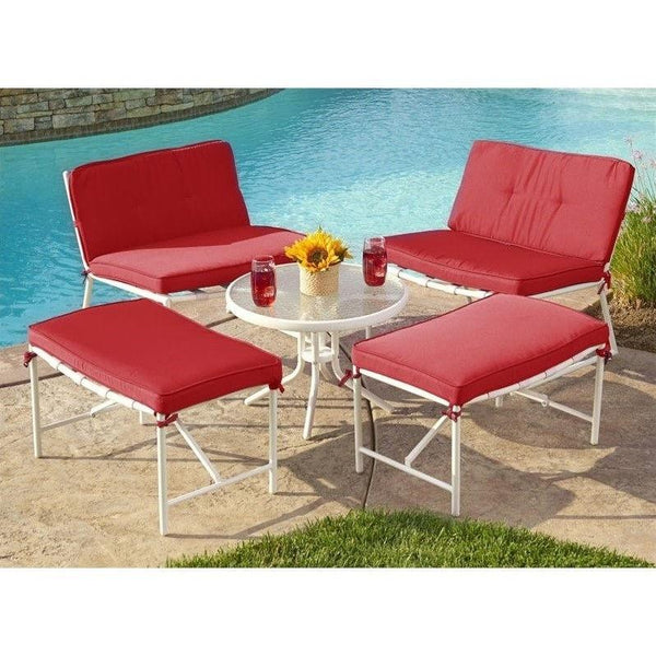 Thy-HOM - Della 5-piece Patio Conversation Set with Red Cushion -  - Conversation Set - 1