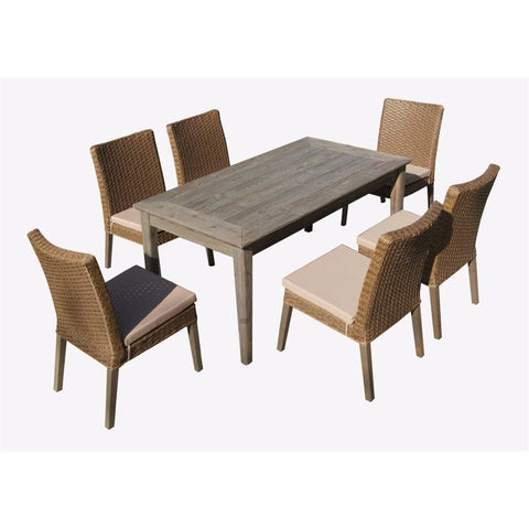 Thy-HOM - Winchester 7-Piece Antique Grey Hard Wood/Dark Brown All-Weather Wicker Patio dining Set With Beige Cushions -  - Thy-HOM Patio Dining Sets - 6