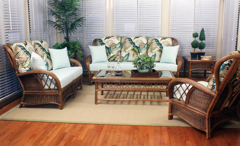 South Sea Rattan Bali 6 Piece Seating Set in Almond