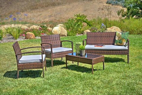 Thy-HOM Teaset 4-Piece Patio Conversation Set with Grey Cushions by Thy-HOM Conversation Set - Rattan Imports