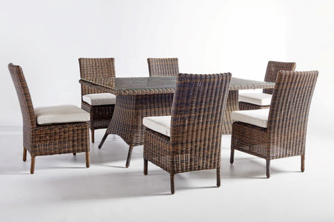 South Sea Rattan South Sea Rattan Del Ray 7-Piece Rectangular Wicker Dining Table Set Dining Set - Rattan Imports