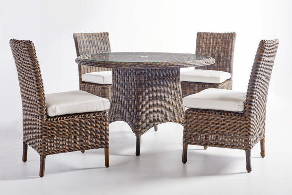 Awesome South Sea Rattan Del Ray 5 Piece Round Dining Table Set Short Links Chair Design For Home Short Linksinfo