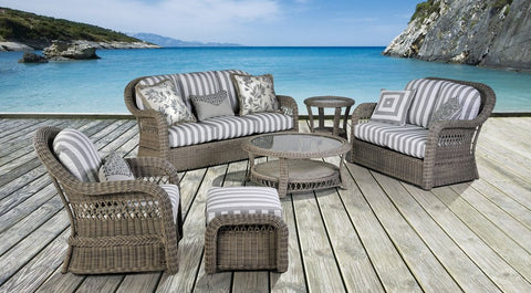 Arcadia Wicker 6-Piece Set with Cushions in Driftwood Finish by South Sea Rattan-Rattan Imports-Rattan Imports