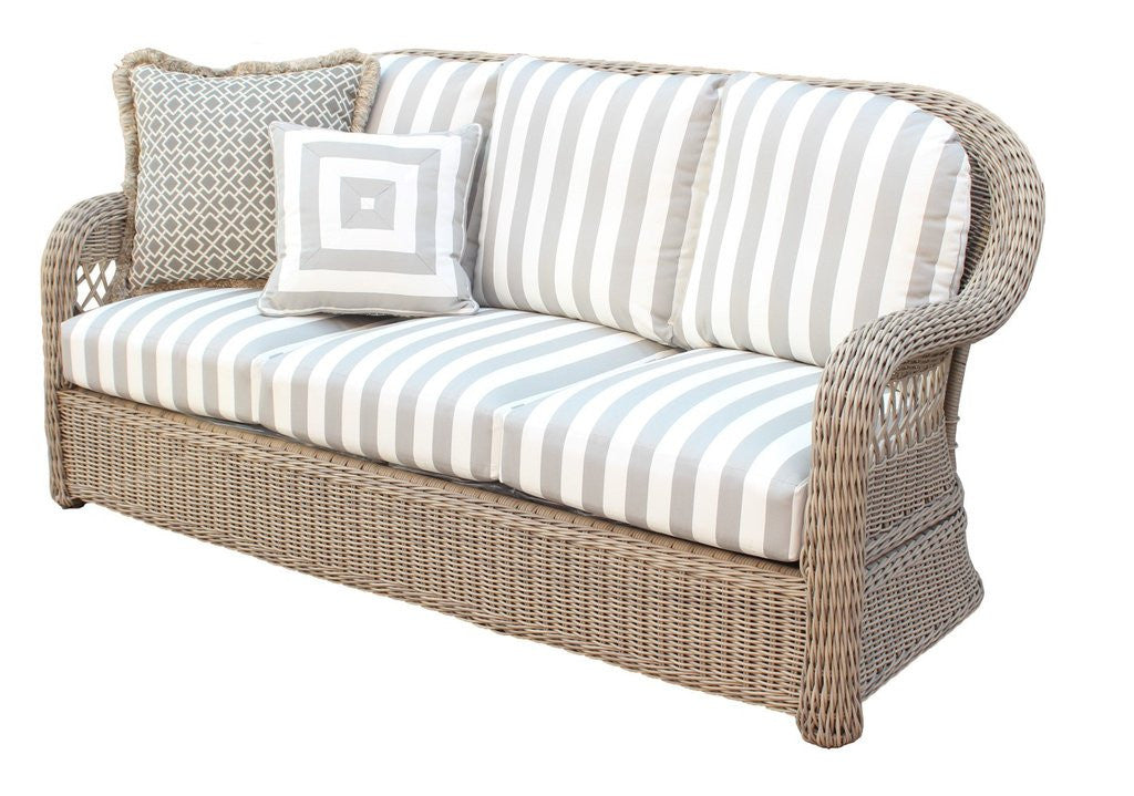 South Sea Rattan Arcadia Wicker 6-Piece Set with Cushions in Driftwood Finish by South Sea Rattan Outdoor Furniture Set - Rattan Imports