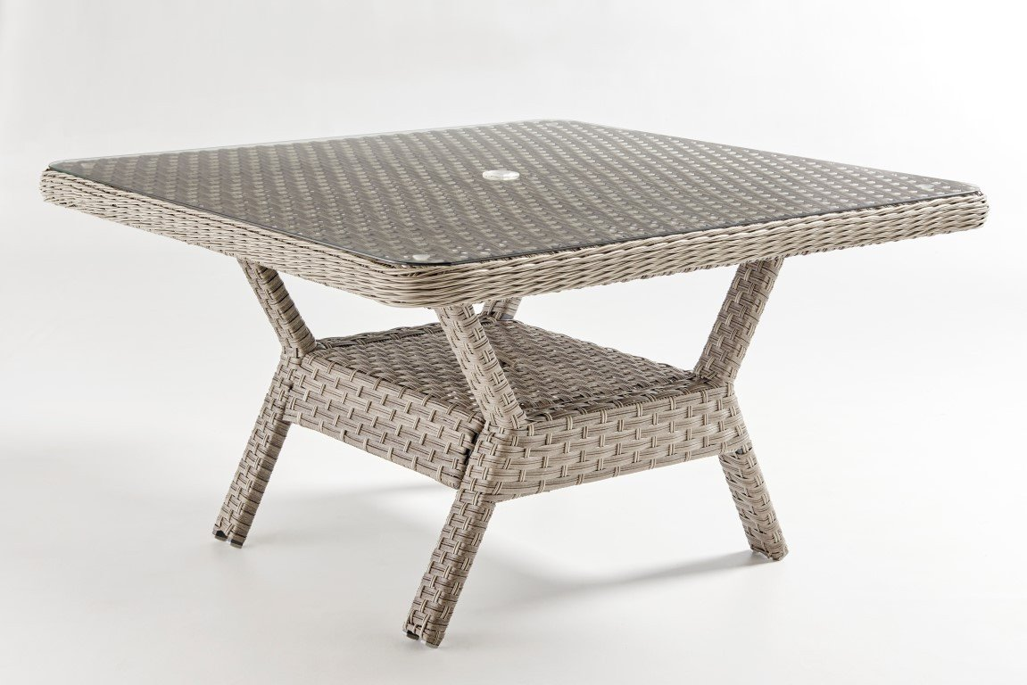 South Sea Rattan South Sea Rattan Mayfair Dining Chat Table - Glass Top Dining Table - Rattan Imports