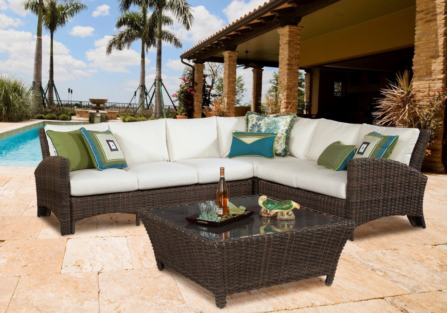 South Sea Rattan South Sea Rattan Panama One Arm Loveseat Right-Side Facing Sectional Sectional Piece - Rattan Imports