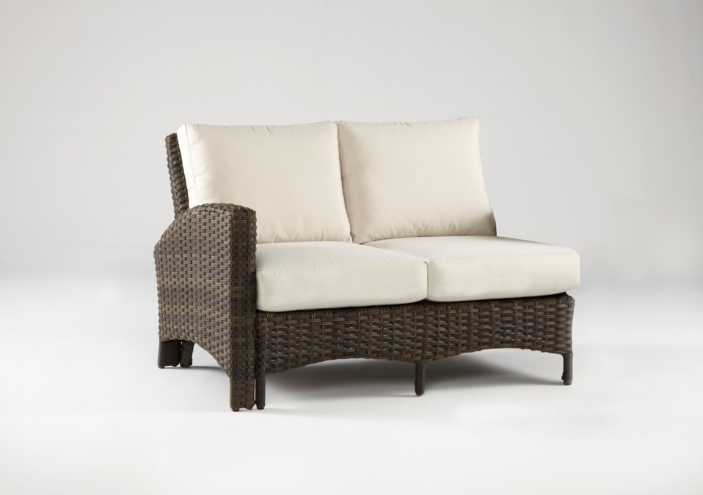 South Sea Rattan South Sea Rattan Panama One Arm Loveseat Left-Side Facing Sectional Sectional Piece - Rattan Imports