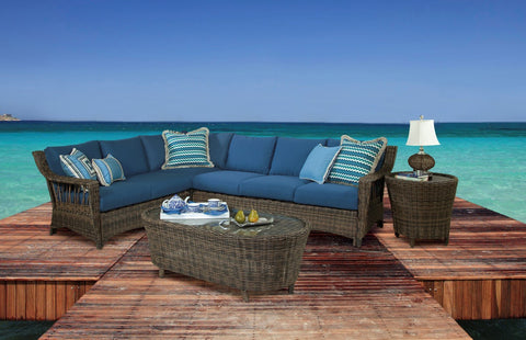 St. John One Arm Sofa Right-Side Facing Sectional by South Sea Rattan-South Sea Rattan-Rattan Imports