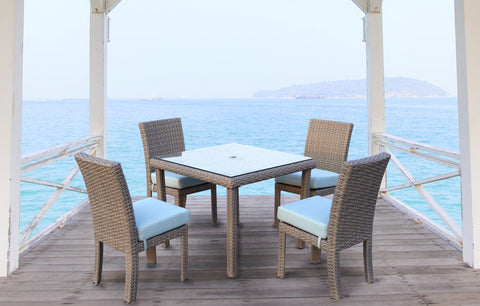 South Sea Rattan South Sea Rattan St. Tropez 5-Piece Square Dining Set Dining Table - Rattan Imports