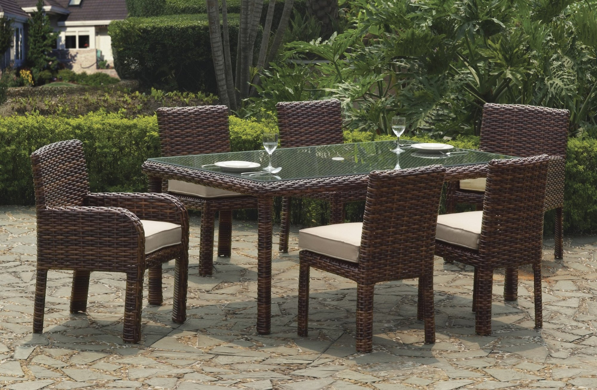 South Sea Rattan South Sea Rattan St. Tropez 7-Piece Rectangular Dining Set Dining Set - Rattan Imports