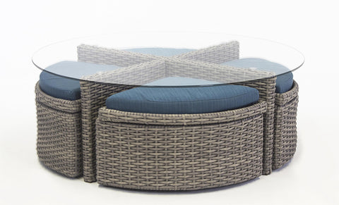 South Sea Rattan St. Tropez Round Sushi Table with Ottomans
