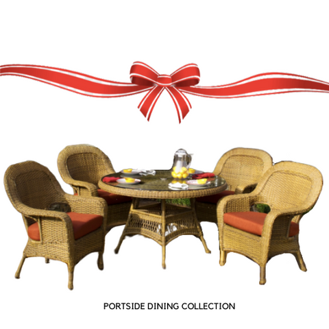 "Tortuga Outdoor Tortuga Outdoor Portside 5 Piece Wicker Dining Set (4 chairs, 48"" dining table) Dining Set - Rattan Imports"