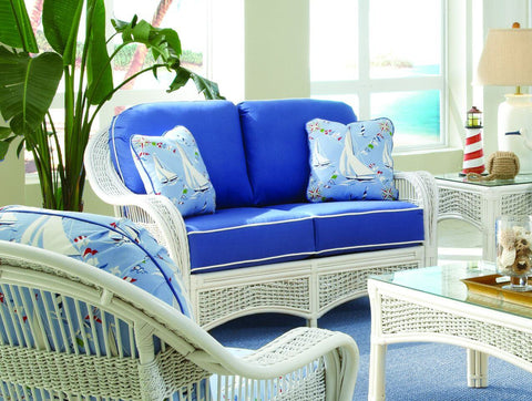 Spice Islands Spice Islands Regatta Loveseat White Loveseat - Rattan Imports