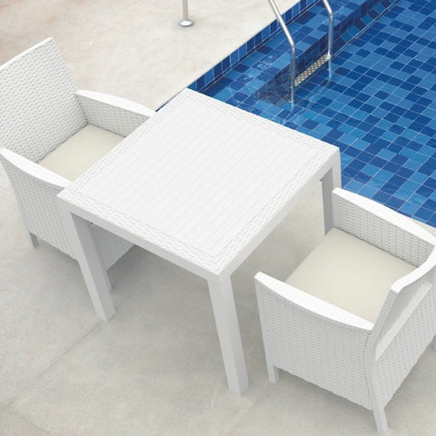 Compamia Compamia Siesta California Wickerlook Square Dining Set 5 Piece White Dining Set - Rattan Imports