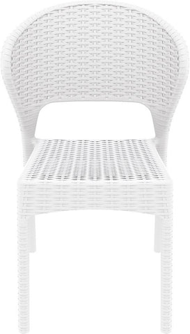 Compamia Compamia Siesta Daytona Wickerlook Square Dining Set 5 Piece White with Side Chairs Dining Set - Rattan Imports