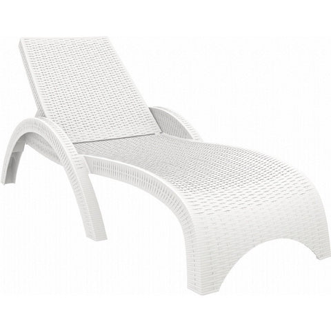 Compamia Compamia Siesta Miami Resin Wickerlook Chaise Lounge White Lounge Chair - Rattan Imports