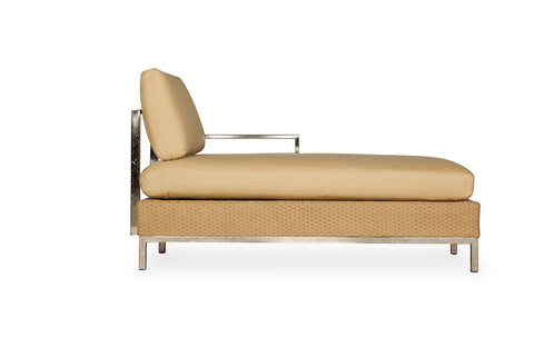 Lloyd Flanders Lloyd Flanders Elements Left Arm Chaise With Stainless Steel Arms & Back Chaise - Rattan Imports