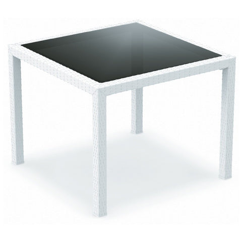 Compamia Compamia Siesta Miami Resin Wickerlook Square Dining Table White 37 inch Table - Rattan Imports