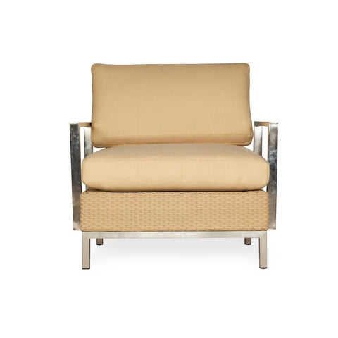 Lloyd Flanders Lloyd Flanders Elements Lounge Chair With Stainless Steel Arms Chair - Rattan Imports