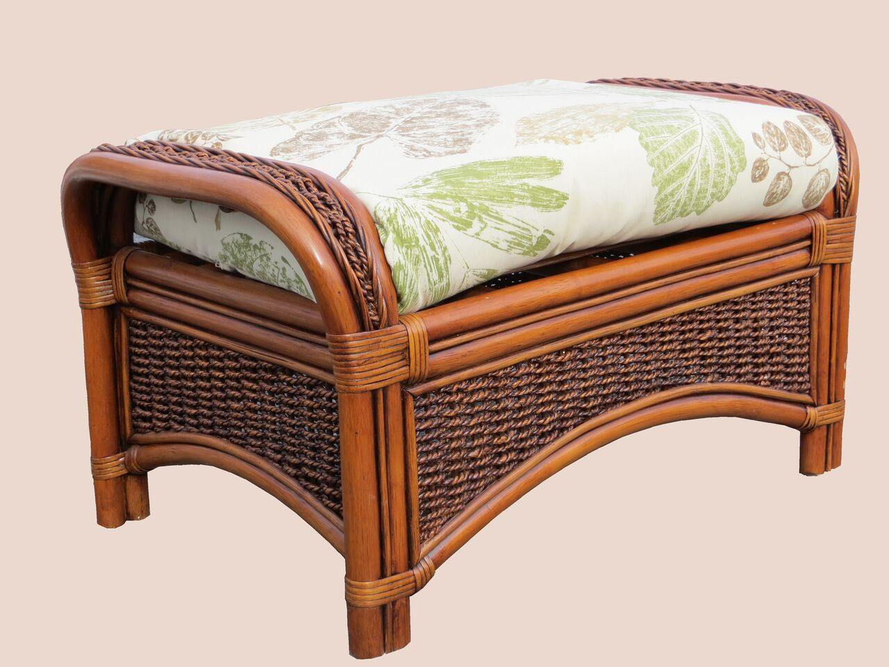 Spice Islands Spice Islands Seascape Ottoman Brownwash Ottoman - Rattan Imports