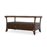 Lloyd Flanders Haven Rectangular Cocktail Table W/ Set In Glass In Tobacco Finish.