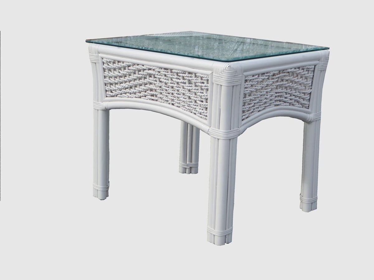 Spice Islands Spice Islands Regatta End Table White End Table - Rattan Imports