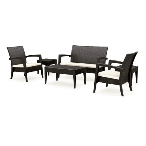 Compamia Compamia Siesta Miami Resin Wickerlook Conversation Set 6 piece Brown Seating Set - Rattan Imports