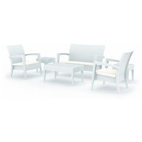 Compamia Compamia Siesta Miami Resin Wickerlook Conversation Set 6 piece White Seating Set - Rattan Imports
