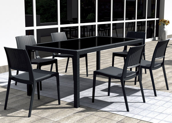 Compamia - Siesta Miami Wickerlook Rectangle Dining Set 7 Piece Brown with Side Chairs -  -