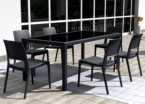 Compamia Compamia Siesta Miami Wickerlook Rectangle Dining Set 7 Piece Brown with Side Chairs Dining Set - Rattan Imports