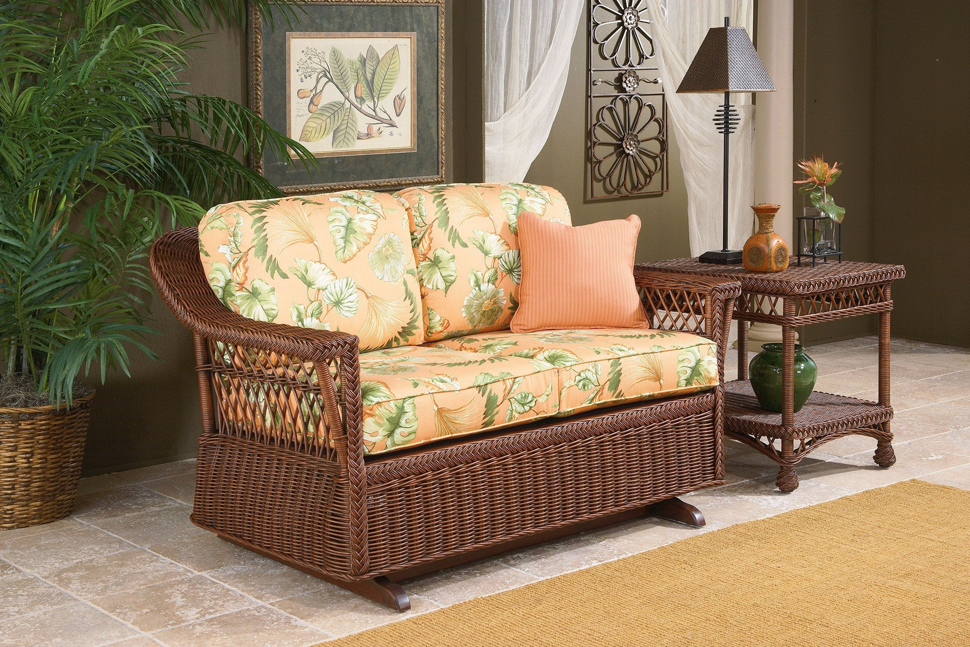 Designer Wicker & Rattan By Tribor Designer Wicker Bar Harbor Gliding Ottoman Ottoman - Rattan Imports