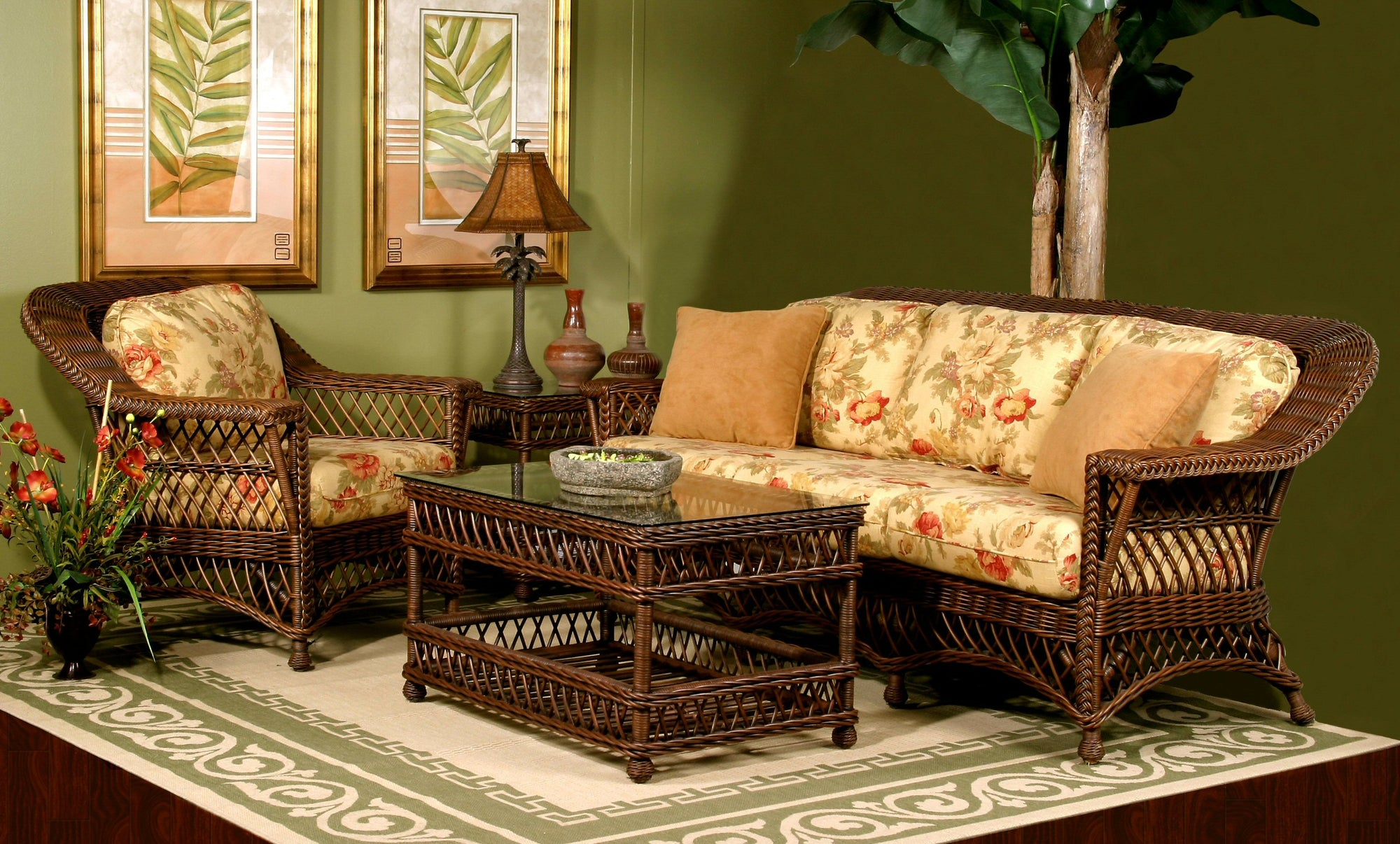 Spice Islands Spice Islands Bar Harbor Brownwash Wicker 6 Piece Living Sun Room Seating Set Outdoor Furniture Set - Rattan Imports