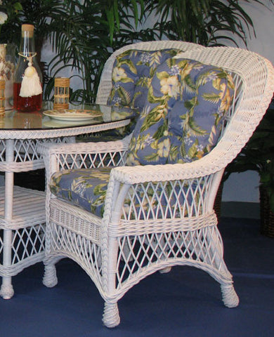Spice Islands Spice Islands Bar Harbor Dining Arm Chair White Chair - Rattan Imports