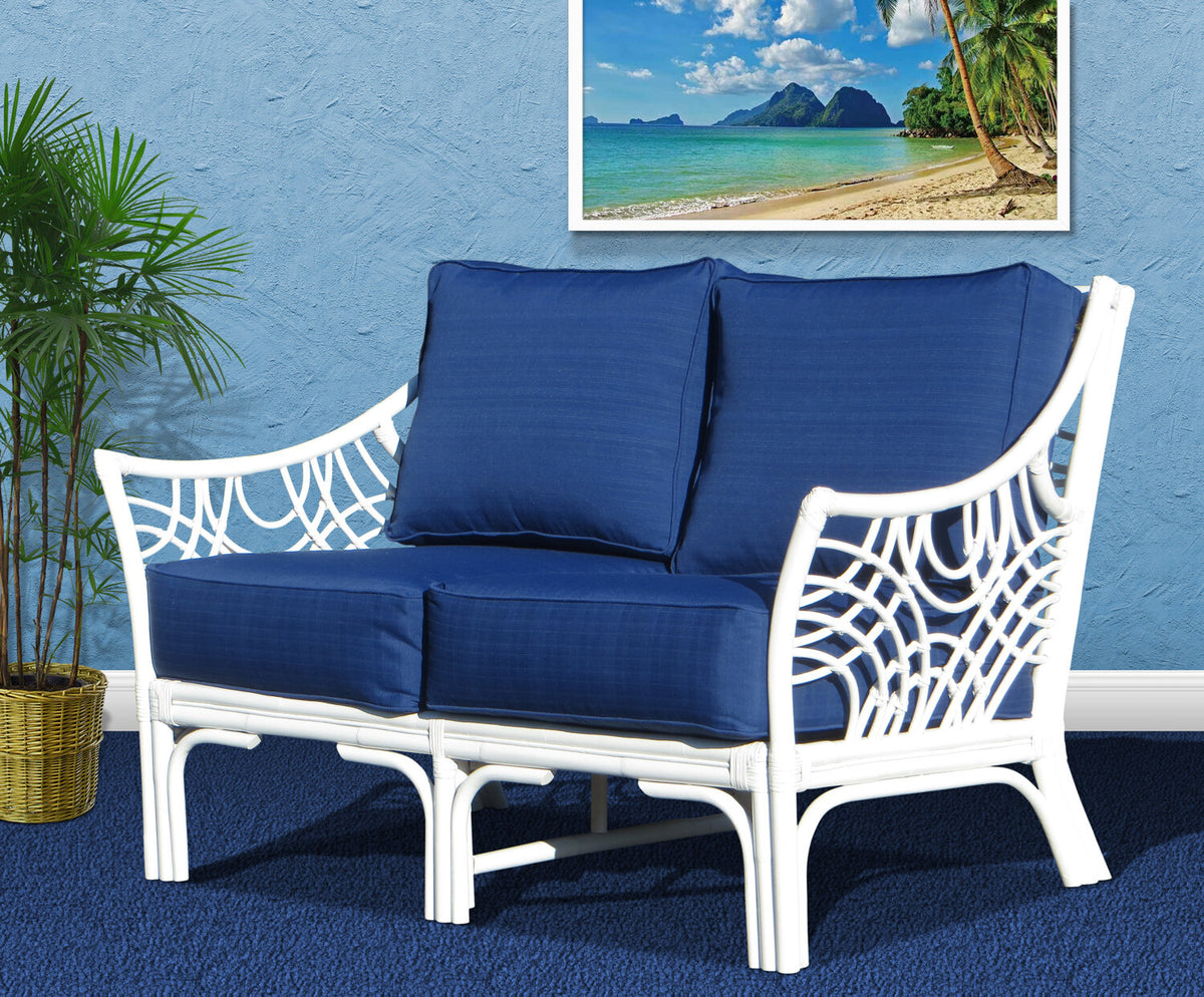 Spice Islands Bali Wicker Loveseat Natural & White - Rattan Imports