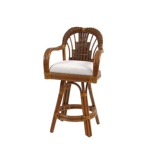 Palm Springs Rattan - Counter Height Swivel Stool Pecan Glaze 444 -  -