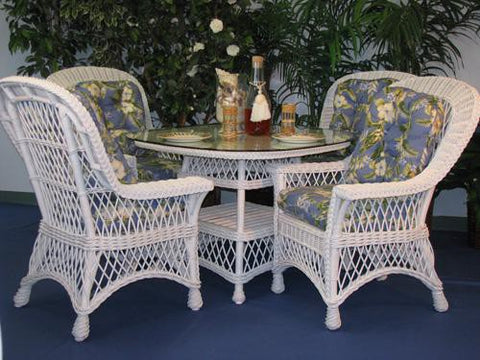5 Piece Bar Harbor Wicker Dining Set With 42 Quot Glass Top In