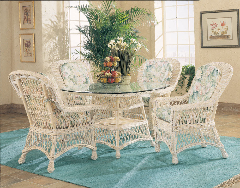 "Spice Islands Spice Islands 5 Piece Bar Harbor Wicker Dining Set With 42"" Glass Top In Whitewash Ships in 2 - 4 weeks Dining Set - Rattan Imports"