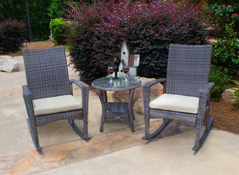 Tortuga Outdoor Tortuga Outdoor Bayview Rocking Chair & Side Table 3 Piece Set Rocking Chair Set - Rattan Imports
