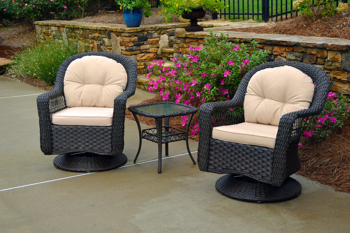Tortuga Outdoor Tortuga Outdoor Biloxi 3 Piece Bistro Set (2 Swivel Chairs & Bistro Table) Espresso Brown with Multiple Fabric Selections Outdoor Seating Set - Rattan Imports