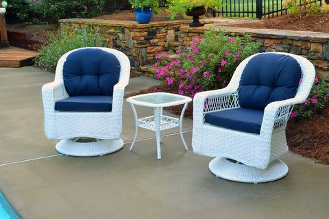 Tortuga Outdoor Tortuga Outdoor Biloxi 3 Piece Bistro Set (2 Swivel Chairs & Bistro Table) White Resin Wicker with Multiple Fabric Selections Outdoor Seating Set - Rattan Imports