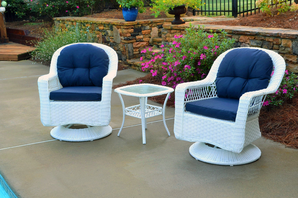 Tortuga Outdoor Tortuga Outdoor Biloxi 3 Piece Bistro Set (2 Swivel Chairs & Bistro Table) White Outdoor Seating Set - Rattan Imports