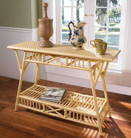 Designer Wicker & Rattan By Tribor Cottage Console Table Console Table - Rattan Imports