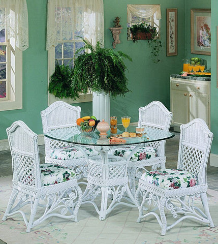 "Spice Islands Spice Islands Gazebo 5 Pc 42"" Dining Set White Dining Table - Rattan Imports"