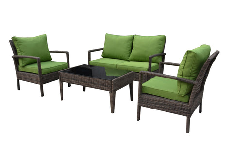 Thy-HOM - Baymont 4-Piece All Weather Wicker Conversation Set -  - Conversation Set - 1