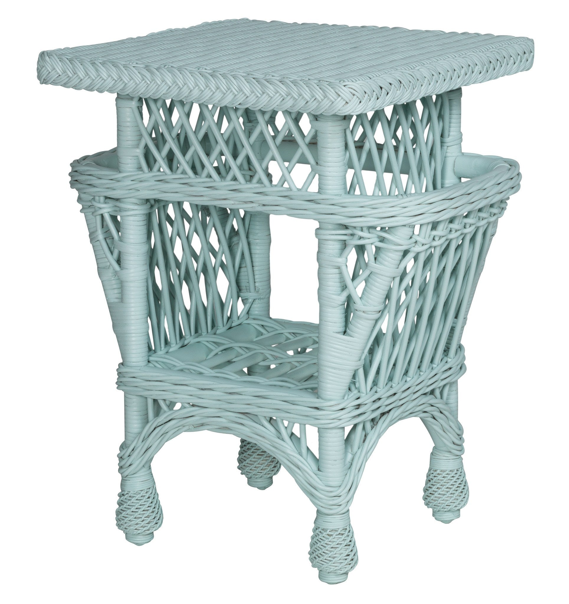 Designer Wicker & Rattan By Tribor Harbor Front Accent Table With Pockets Accessory - Rattan Imports