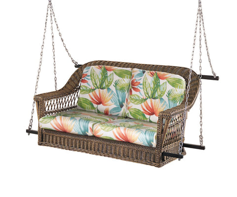 Designer Wicker & Rattan By Tribor Harbor Front Wicker Porch Swing (2-seat) by Designer Wicker Porch Swing - Rattan Imports