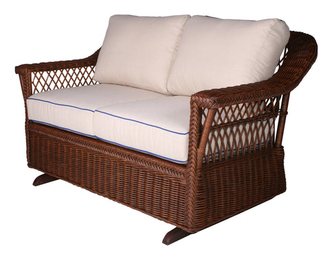 Designer Wicker & Rattan By Tribor Designer Wicker Bar Harbor Loveseat Glider Loveseat - Rattan Imports