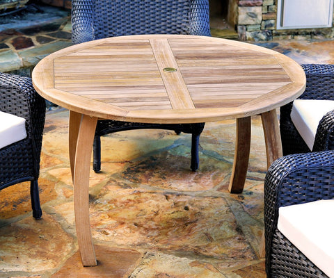 "Tortuga Outdoor Jakarta Teak Round 48"" Dining Table-Tortuga Outdoor-Rattan Imports"